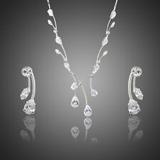Sparkly Clear Zircon Stone Bridal Jewellery Set Chain Necklace Pendant Earrings
