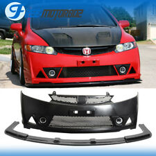 For 06-11 Honda Civic 4Door Sedan Mugen RR PP Front Bumper & ABS Front Lip USDM