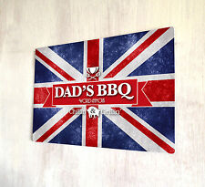DAD'S BBQ Union Jack segno A4 PLACCA in metallo shabby chic