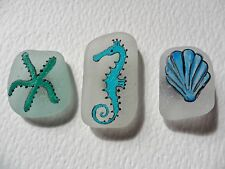 Seahorse, starfish & shell - Hand painted sea glass art fridge magnet set