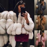 Women Stylish Baggy Long Sleeve Thicken Fox Fur Parka Coat Winter Warm Jacket