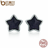 Bamoer Real S925 Sterling Silver Stud earrings call of stars For Women Jewelry