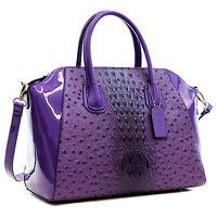 Dasein Women Ostrich Leather Handbag Work Satchel Tote Shoulder Bag Purse
