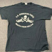 GILDAN US NAVY SUBMARINE FORCE DEATH FROM BELOW GRAPHIC BLACK T-SHIRT SZ L EUC