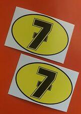 BARRY SHEENE number 7 Motorcycle Helmet Fairing set of 2 stickers 80mm x 50mm