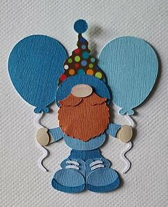 Gnome Birthday Balloon Set Blue Scrapbook, Card Making Paper Piecing