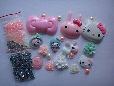 Pink Blue Kids Animal Hello Kitty Deco Den DIY Kit Cabochon 4353