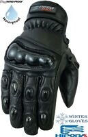 CARBON KNUCKLE THERMAL WINTER MOTORBIKE MOTORCYCLE MOTOCROS SHORT LEATHER GLOVES