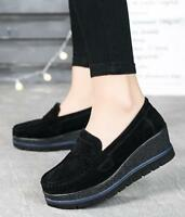 Women's Casual Flat Suede Slip on Comfort Wedge Loafers Platform Moccasins Shoes