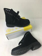 French Blu Womens Shoe Studded Cap Toe Boot Black Size 6 New Suede Lace Up