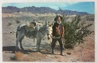 Vintage Postcard Death Valley Gold Prospector Smiley with Donkey in Desert