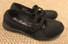 Skechers Wide Fit Memory Foam Mary Jane Slip On Black Shoes Size 7 23005W