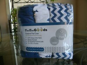 3 PACK BaeBae Goods Jersey Cotton Fitted Bassinet Pad Cover 15 x 33 x 4 inches