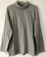 NEW PURE J. JILL L XL Relaxed Turtleneck Pima Cotton/Spx L/S Gray Heather