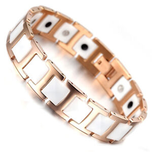 Rose Gold Tungsten Carbide White Ceramic Bracelet Magnetic Therapy Chain Bangle