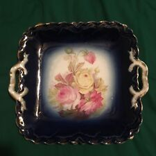 ANTIQUE VINTAGE 10 INCH SQUARE SERVING BOWL BLUE PINK ROSES YELLOW