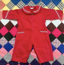 Vtg 60s Toddler / Baby Red Romper by Randy's Diaper Jeans Retro Baby Outfit