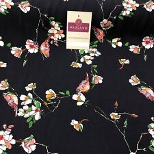 "Vintage Bird Floral Printed Viscose Rayon Dress Fabric 58"" wide ME886 Mtex"
