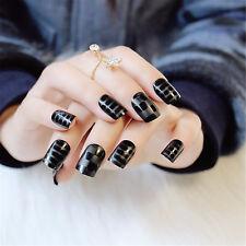 New Women Fashion Black False Nails 24 Pcs Acrylic Fake Nails Full Artificial