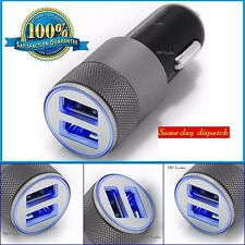 SILVER UNIVERSAL TWIN 2 PORT USB 12V DUAL CAR CHARGER CIGARETTE LIGHTER IPHONE X
