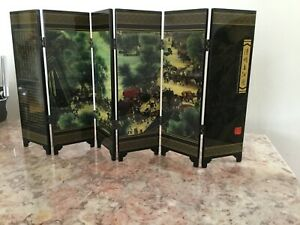 Chinese Foldable Table Screen Riverside Scene at Qingming Festival w/Box