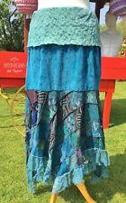 DIVINE NEW TURQUOISE VELVET SKIRT SIZE 10 12 14 BOHO HIPPIE DRESS PAGAN GYPSY