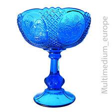 prachtvolle antike Press Glas Fuß Schale Obst schale blau Höhe: 24 cm Dm: 21 cm