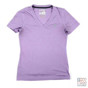 Adidas Ultimate Tee Womens XS Short Sleeve V-Neck Polyester Regular Fit Purple