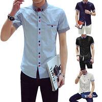 FASHION Mens Luxury Casual Stylish Dress Shirts Slim Fit Short Sleeve Polo Shirt