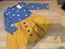 Girls Mini Boden Hotchpotch Dress - Elizabethan Blue/Ivory Daisies, size 2-3,New
