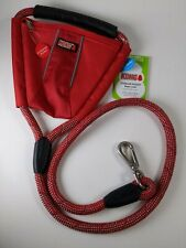 New listing Kong 4' Dog Rope Leash W/Storage Pocket Comfort + Reflective Red Rope Leash New