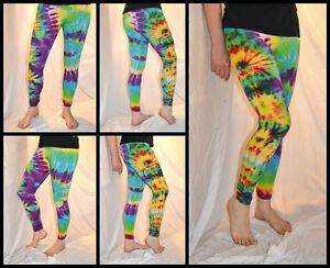 Tie Dye Psychedelic Handmade Leggings MULTICOLOUR RAINBOW custom design FREESIZE