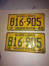 ( 2 ) A Nice Set / Pair 1952 Minnesota Vintage Metal License Plate 10,000 Lakes