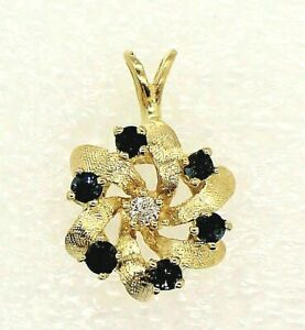 Blue Spinel Diamond Pendant REAL Solid 14 k Gold 2.8 g