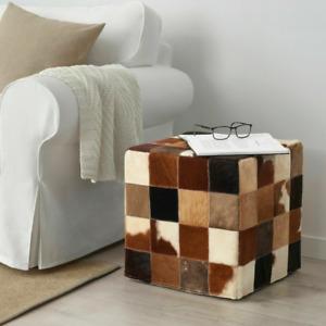 NIB IKEA JULARP Cowhide Pouffe Patch Work Footstool/Ottoman Multi color