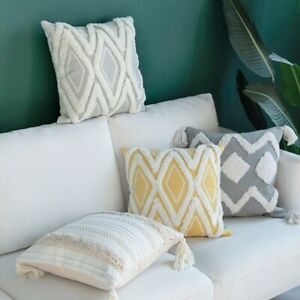 Cotton Woven Cushion Cover Iovry Tassels Pillow Cover  Home Decoration Sofa Bed