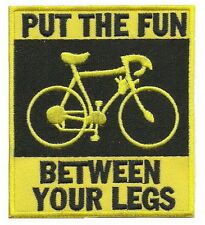PUT THE FUN BETWEEN YOUR LEGS Punk Embroidered Iron on Biker Patch