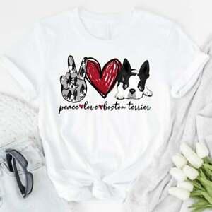 Peace Love Boston Terrier T-shirt Boston Terrier For Dog Lovers