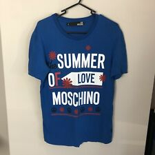 Love Moschino Men's Size S Small The Summer Of Love Moschino Blue Tee Shirt