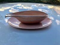 Mid-Cent. Russel Wright Steubenville Pottery -  2 Coral Gravy Boats/1 Drip Tray