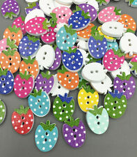 100pcs Strawberry shape dot Wooden buttons Mixed color sewing scrapbooking 16mm