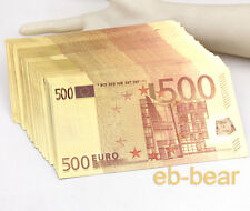 Wholesale Lot 100 Pcs 500 Euros Dollar Color Gold Notes Money Banknotes Crafts