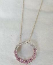 Pink and white sapphire 10k white necklace. 18 graduated sapphires. 10k stamped.