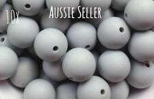 10 silicone LIGHT GREY 15mm beads round BPA free baby teeth safe nursing chew