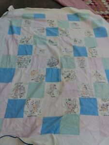 VTG RELIGIOUS HAND EMBROIDERED BLOCK QUILT WITH RELIGIOUS FIGURES SAYINGS MUST C
