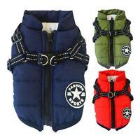 Pet Dog Harness Waterproof Clothes Padded Coat Warmer Winter Jacket Vest Apparel