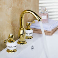 3 Hole Ceramic Gold Plated Double Handle  Brass Mixer Faucet Basin Sink Taps