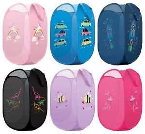 Laundry Bag Toy Storage Pop Up Mesh Foldable Basket Kids Children Boys Girls