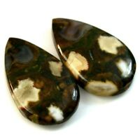 Natural Rhyolite Rainforest Jasper Mixed Shape Cabochon Pair Collection