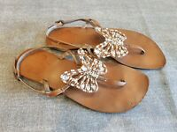 Next size 3 (36) tan brown leather buckle strap toe post beaded sandals flats